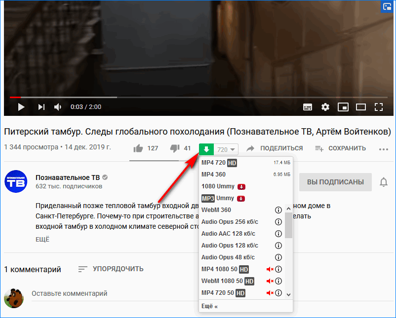 Функции на Youtube SaveFrom.net