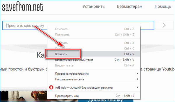 Вставка ссылки на сервисе SaveFrom net